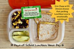 31 days of school lunch box ideas  Erin knows that Lunchbox Love is just as nutritious as what's between the bread. New lunches added daily at www.$5Dinners.com  #lunchboxlove #kidslunch #lunch
