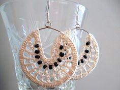 Pearl white earrings black bead earrings by Myhandmadepassion, $13.90