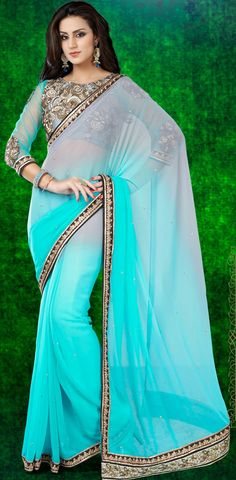 USD 43.75 Aqua Chiffon Wedding Saree 44186
