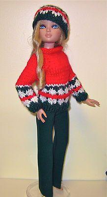 """Hand knit sweater & hat + slacks fit Ellowyne & 14"""" Kish Chrysalis dolls."""