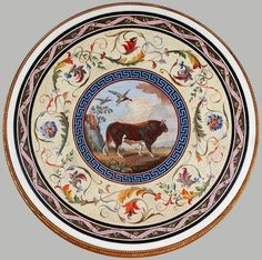 Mosaic table top with a bull by Pompeo Savini and Wenzel Peter, ca. 1788, Muzeum Łazienki Królewskie (MLK), presented to Stanislaus Augustus by Pope Pius VI, a bull against the background of a vast landscape and a rotten oak trunk with a new branch is an allusion to the king's coat-of-arms and to the revival of the country under his rule