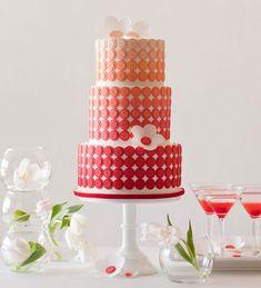 Modern Ombré Dot Wedding Cake - by AK Cake Design in Portland, Oregon Wedding Cake Red, Wedding Cake Photos, Wedding Cakes With Cupcakes, Beautiful Wedding Cakes, Gorgeous Cakes, Wedding Cake Designs, Pretty Cakes, Amazing Cakes, Orange Wedding