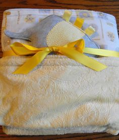 Large minky and cotton blanket and taggie by BlessingsandBabies, $30.00