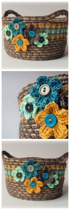 crochet basket with rope, flowers and buttons.crochet over twine Mode Crochet, Knit Or Crochet, Crochet Crafts, Yarn Crafts, Crochet Blouse, Yarn Projects, Crochet Projects, Crochet Bowl, Crochet Storage