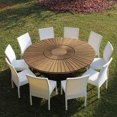 Tavolo da pranzo da giardino moderno in legno di teak Essence