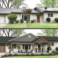 If you're putting time and money into an exterior redesign, we can guess that you probably want an update. Many homeowners desire a trendy curb appeal, and of course don't want the details to fall out of style within the next few years. This takes a delicate balance, but as virtual exterior designers, we're here to show you how. Here's a list of 10 must-know exterior home design trends coming in 2021 that still possess classic beauty.From wood accents to a new porch, don't be stuck in… Home Exterior Makeover, Exterior Remodel, Ranch Exterior, Up House, House Front, Garage Extension, Front Porch Design, Front Porch Addition, Ranch House Remodel