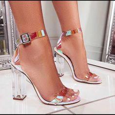 Mercie Barely There Perspex Block Heel In Silver Croc Print Faux Leather Mercie Barely There – Absatz aus Plexiglas mit silbernem Krokoprint – Kunstleder Image 2 Stilettos, Pumps Heels, Stiletto Heels, Cute Heels, Lace Up Heels, Women's Shoes, Shoe Boots, Ego Shoes, Dress Shoes
