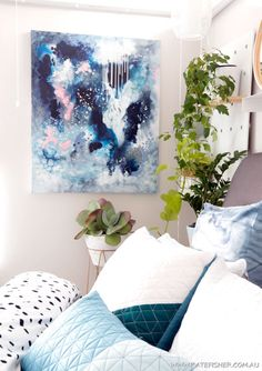 """Bedroom art: """"Dance In The Rain"""" Original abstract artwork by Australian artist Kate Fisher in moody blues, navy, white and a touch of blush. Artwork styling ideas for modern bedrooms."""
