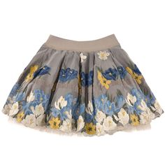 Flared taffeta skirt with blue and yellow flower embroideries. Tulle jupon underneath. Ivory viscose lining. Wide elastic waistband. Hand wash only. - 168,00 €