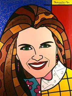 """Romero Britto's """"Maria Shriver"""" 2005, 48"""" x 36"""" Portrait. Learn more about Romero Britto and Florida (The Sunshine State) at: www.floridanest.com"""