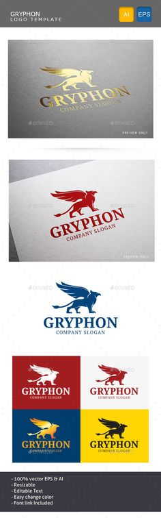Gryphon Logo Template (AI Illustrator, Resizable, CS, ancient, bird, crest, eagle, gods, greek, gryphon, king, lion, myth, royal, strong, vector, wing)