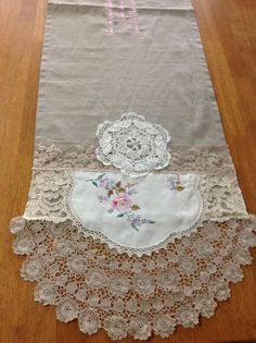 runner and add doilies, lace, material etc. Doilies Crafts, Lace Doilies, Crochet Doilies, Fabric Art, Fabric Crafts, Sewing Crafts, Sewing Projects, Antique Lace, Vintage Lace