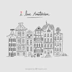 Hand drawn amsterdam houses background F. Quote Backgrounds, Backgrounds Free, Architecture Amsterdam, House Doodle, Round Robin, Amsterdam Houses, House Drawing, Ink Illustrations, Vector Pattern