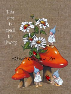 Art PRINT: Toadstools Daisies Gnomes Take by FreshAirPrintables