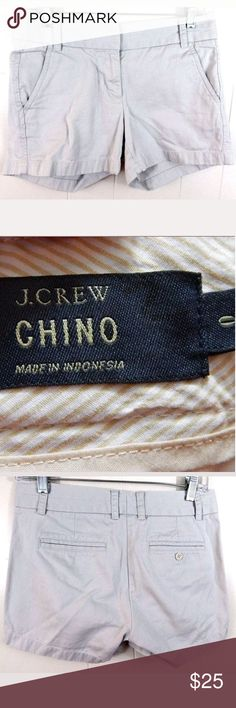 """J. Crew Beige Broken In Chino Shorts Light beige broken in Chino shorts by J. Crew. Women's Size 0, 8.5"""" rise and 4"""" inseam. 100% cotton. Gently loved with light wear. No trades. J. Crew Shorts"""