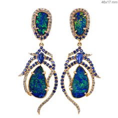 Sapphire Gemstone Opal Solid 18 K Rose Gold FEATHER Dangle Earrings Pave Diamond | Jewelry & Watches, Vintage & Antique Jewelry, New, Vintage Reproductions | eBay!