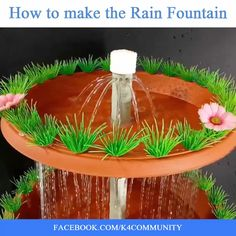 Fire Pit Discover DIY Easy Rain Fountain Making Ideas How to make the Rain Fountain very easy via: Nature Diy Water Fountain, Diy Garden Fountains, Indoor Water Fountains, Indoor Fountain, Patio Fountain, Fountain Ideas, Diy Home Crafts, Diy Arts And Crafts, Creative Crafts