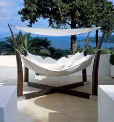 "Kakoon X-Frame Hammock ""The Kokoon Free Standing Hammock was designed for Royal Botania by Oliver le Pensec. Outdoor Beds, Outdoor Spaces, Outdoor Living, Outdoor Decor, Outdoor Bedroom, Garden Furniture, Outdoor Furniture, Wicker Furniture, Exterior Design"