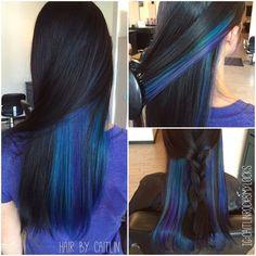 Underlights. Purple and blue hair. Peacock hair. Galaxy hair. Jewel tone hair…