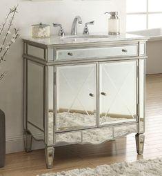 Adelina 32 inch Mirrored Bathroom Vanity Carrara Marble Top