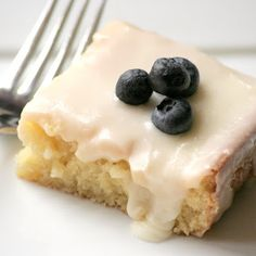 Try Almond Sheet Cake! You'll just need Cake Ingredients:, 1 Cup Butter, 1 Cup Water, 2 Cups Flour, 2 Cups Sugar, 1 tsp. Baking Soda, 1/2 Cup Sour Cream, 2...