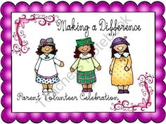 Parent Volunteer Celebration: PV Tea Invitation/Thanks from Creativity in Teaching on TeachersNotebook.com -  (10 pages)  - Parent Volunteer Celebration Every year we have a parent volunteer tea to thank our parent volunteers. We always have a commitee who is in charge of the theme, the invites, etc. Included: *invitation printables, color and black and white (we would run it