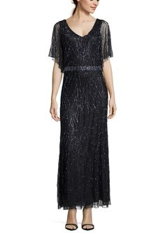 J KARA Black/Gunmetal Beaded Illusion Yoke Gown