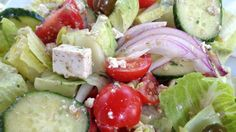 Greek Salad Recipe - Protective Diet - This is fresh and even better than my memories of the full fat original. With easy to make faux feta this greek salad is a lunchtime favorite. (Affiliate)