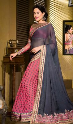 Look more than enchanting and adorable dressed in this gray and salmon color georgette brasso half n half sari. This engaging attire is displaying some fantastic embroidery done with lace and resham work. Upon request we can make round front/back neck and short 6 inches sleeves regular saree blouse also. #MelodicGrayAndPinkGeorgetteSari