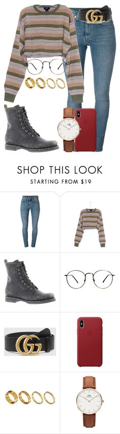 """95.8"" by mallorimae ❤ liked on Polyvore featuring Yves Saint Laurent, Frye, Gucci, Made and Daniel Wellington"