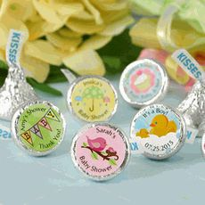 Personalized Baby Shower Hershey Kisses decorated with baby themed images and personalization of your choice.