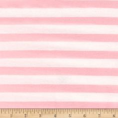 Jersey Knit Baby Pink Stripe on Ivory from @fabricdotcom  This jersey knit fabric features 40% stretch on the grain and yarn dyed stripes. Perfect for t-shirts, lined knit dresses, skirts, and tops.