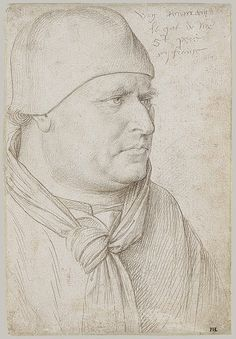 Portrait of an Ecclesiastic, ca. 1430–81 Jean Fouquet (French, 1415/20–1478/81) Made in France Metalpoint; black chalk on white prepared paper