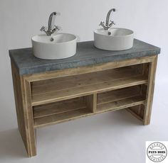 Meuble salle de bain Pays Bois avec plateau en béton ciré