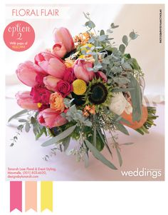 Peach and pink bouquet by Tanarah Luxe Floral from our spring/summer issue. Photography by Nancy Nolan.