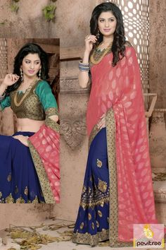 Buy red color bridal wear saree online at retail price. Get this fashionable georgette saree with embroidered golden lace work at pavitraa fashion store. #saree, #designersaree more: http://www.pavitraa.in/store/casual-saree/
