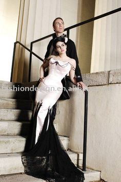 Strapless mermaid black wedding dress