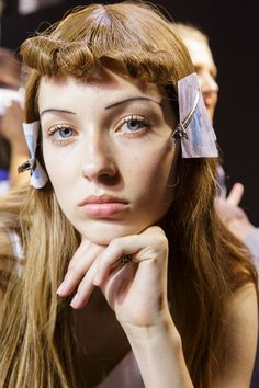 Rochas at Paris Fashion Week Spring 2017 - Backstage Runway Photos Beauty Makeup, Hair Makeup, Hair Beauty, 60s Bangs, Mullet Hairstyle, Editorial Hair, Hair Reference, Gal Pal, Makeup Inspiration