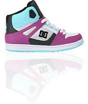 DC Shoes Girls Rebound Hi Ocean Blue & White Shoe