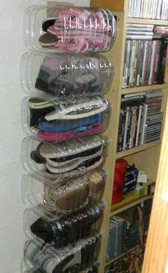 Storage idea using plastic bottles...