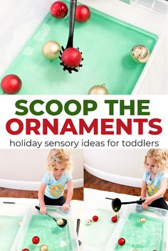 Are you looking for Christmas sensory play activities? Make an Ornament Scooping bin! Your kids will thank you! This ornament scooping activities is a great holiday sensory idea for toddlers, preschoolers, and older. Christmas Activities For Toddlers, Sensory Activities Toddlers, Sensory Bins, Sensory Play, Sensory Table, Indoor Activities, Winter Activities, Toddler Fun, Toddler Crafts