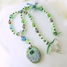 Mint green and aqua glass pearls and polymer necklace  | SharylsJewelry - Jewelry on ArtFire http://www.artfire.com/ext/shop/product_view/9225374