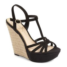 "Jessica Simpson 'Bevin' Espadrille Wedge Sandal, 5"" heel ($89) ❤ liked on Polyvore featuring shoes, sandals, wedges, black nubuck, ankle strap wedge sandals, t strap wedge sandals, high heel platform sandals, ankle strap sandals and jessica simpson sandals"