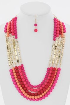 LAYERED BEADS AND CHAINS NECKLACE EARRINGS SET (PINK) - $22