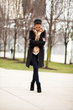 1.12 happy new year: hello 2012 (Zara coat + Stevie Mac faux fur vest + Juicy Couture blouse + Citizens of Humanity jeans + ASOS booties + F21 gloves) Wendy's Lookbook