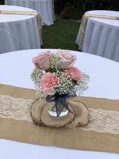 Sweet and simple carnations roses and million star Girl Baptism Centerpieces, Carnation Centerpieces, Wedding Table Centerpieces, Teal Wedding Bouquet, Carnation Wedding, Rose Wedding, Wedding Decorations On A Budget, Flower Arrangements, Rustic Wedding