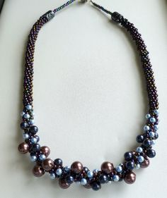 Beaded Kumihimo pearl cluster necklace in blue by TheBeckoningCat, $125.00