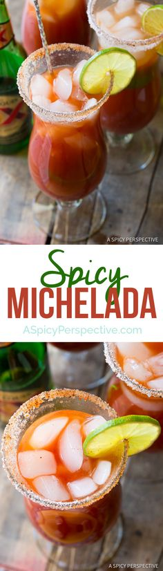 Spicy Michelada Recipe - A Mexican cocktail similar to a Bloody Mary, made with beer, tomato juice, lime juice and spices. This simple recipe is loaded with Dessert Drinks, Bar Drinks, Cocktail Drinks, Cocktail Recipes, Beer Recipes, Alcohol Recipes, Mexican Food Recipes, Cooking Recipes, Mexican Dishes