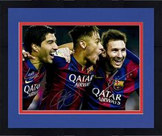 "Framed Lionel Messi, Luis Suarez, Neymar FC Barcelona Autographed 16"" x 20"" Photograph - Fanatics Authentic Certified * Click image to review more details."