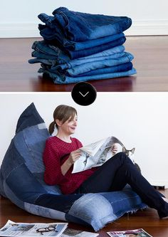 Recycled Jeans Become a Comfy Lounge (Design*Sponge) Most of the before & afters we share here on the site start out with the same materials: paint,… Diy Jeans, Jean Crafts, Denim Crafts, Lounge Design, Denim Furniture, Jeans Recycling, Jean Diy, Diy Bean Bag, Bean Bags